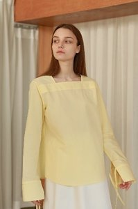 Square Neck Blouse in Lemon